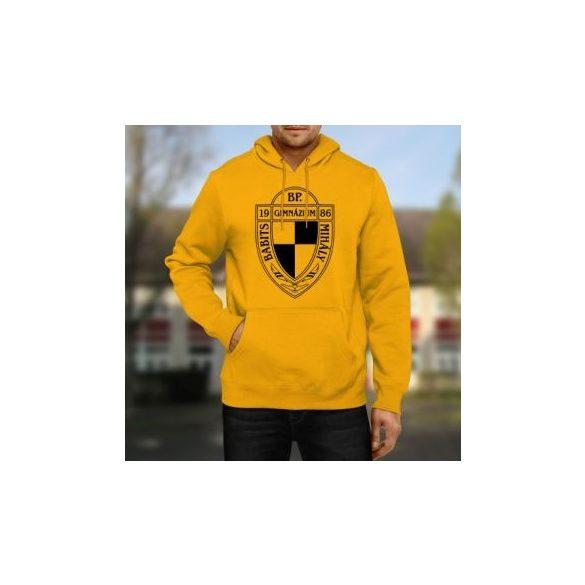 Felnőtt kapucnis pulóver egyszínű emblémával / felirattal