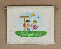 Kislány-kisfiú, óvoda-iskola, nyers színű vászon ballagó tarisznya, évszám nélkül (más alapanyag is választható)