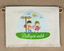 Kislány-kisfiú, óvoda-iskola, nyers színű vászon ballagó tarisznya, évszámmal (más alapanyag is választható)
