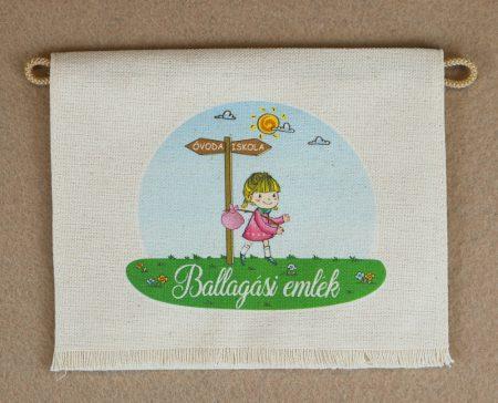 Kislány, óvoda-iskola, nyers színű vászon ballagó tarisznya, évszámmal (más alapanyag is választható)