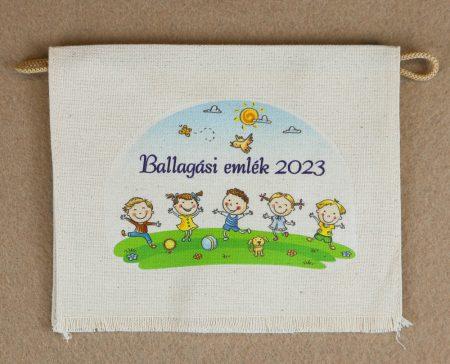 Gyerekek,  kék felirattal, nyers színű vászon ballagó tarisznya (más alapanyag is választható)