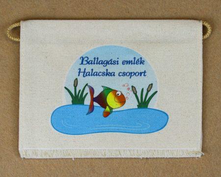 Halacska csoport, nyers színű vászon ballagó tarisznya (más alapanyag is választható)