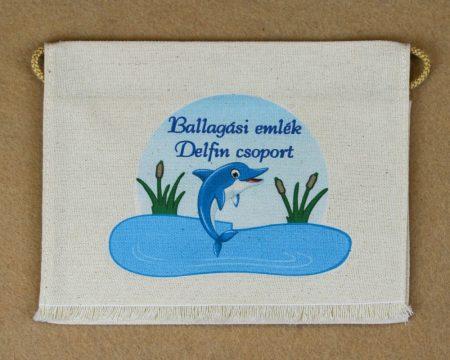 Delfin csoport, nyers színű vászon ballagó tarisznya (más alapanyag is választható)