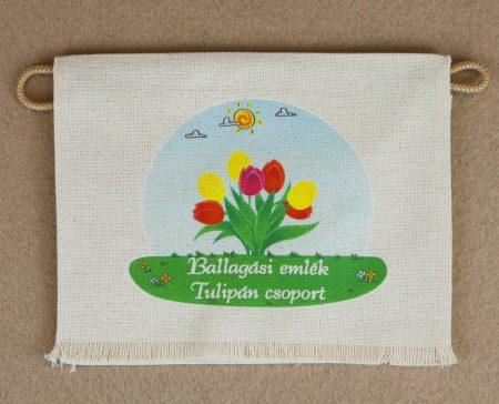 Tulipán csoport, nyers színű vászon ballagó tarisznya (más alapanyag is választható)