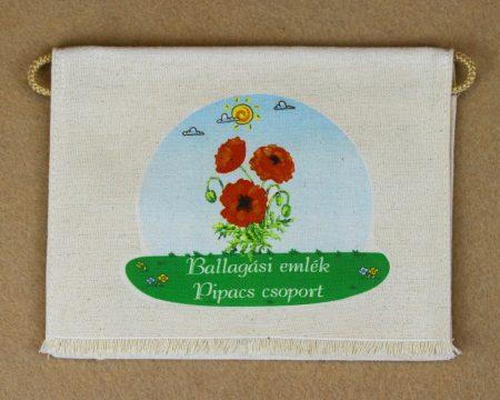 Pipacs csoport, nyers színű vászon ballagó tarisznya (más alapanyag is választható)