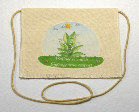 Gyöngyvirág csoport, nyers színű vászon ballagó tarisznya (más alapanyag is választható)