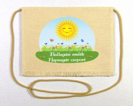 Napsugár csoport, nyers színű vászon ballagó tarisznya (más alapanyag is választható)