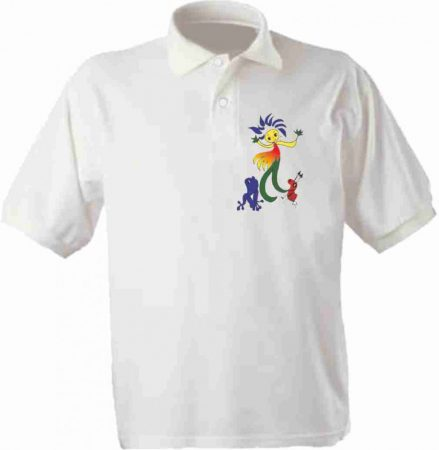 Felnőtt fehér galléros póló max. 7X10 cm-es  színes emblémával a szív oldalán
